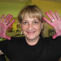 Orna Chillag hands while working with greaps